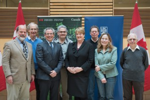 From left to right:  Dr. John Hepburn, Dr. Charles Thompson, Dr. Marc Ouellette, Dr. Horatio Bach, PS McLeod, Dr. Raymond Andersen,  Dr. Natalie Strynadka, Dr. Julian Davies. Photo credit Martin Dee/UBC